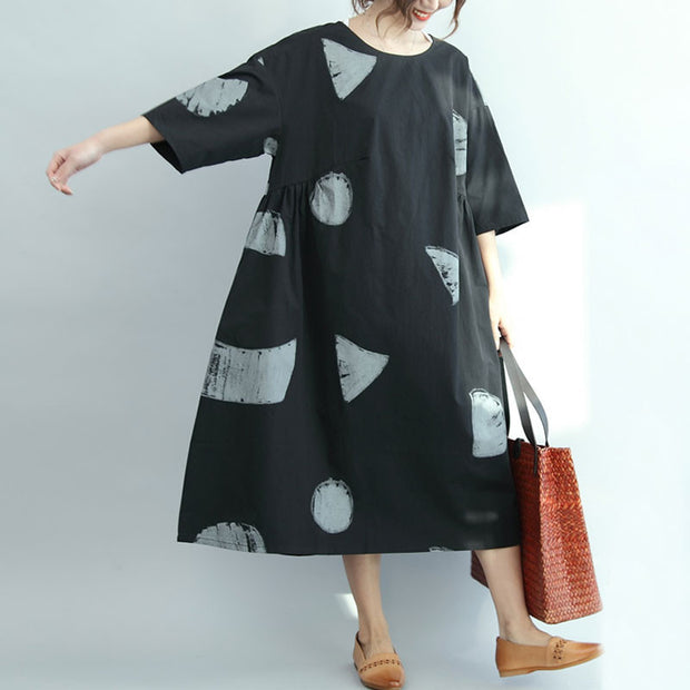 Casual Loose Short Sleeves Black Dress - Buykud