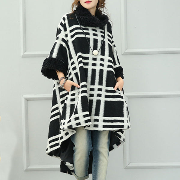 White Plaid Woolen Coat