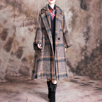 Buykud Tailored Collar Plaid Fashion Casual Trench Coat