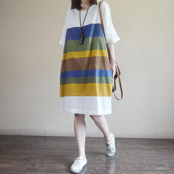 Colored Stripes Batwing Sleeve Midi Dress
