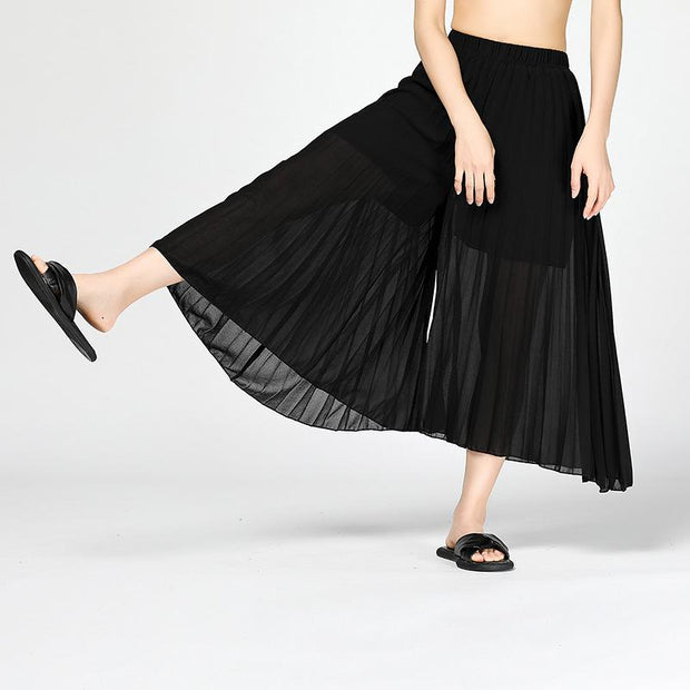Chiffon Pleated  Ankle Length Wide-Leg Pants