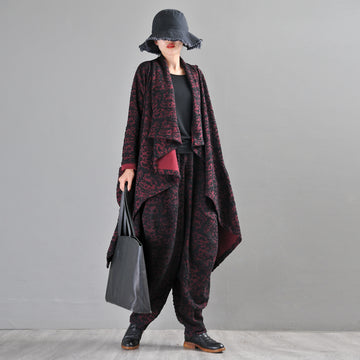Buykud Irregular Design Retro Jacquard Trench Coat