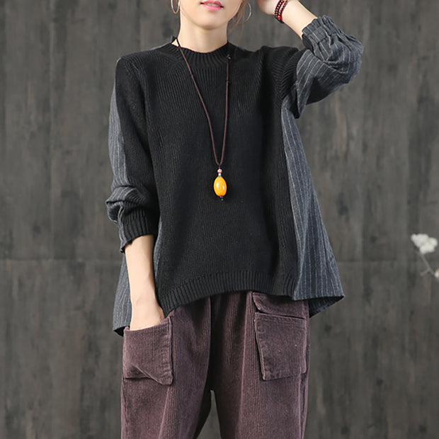 Buykud Casual Pleated Stripe Spliced Comfortable Shirt