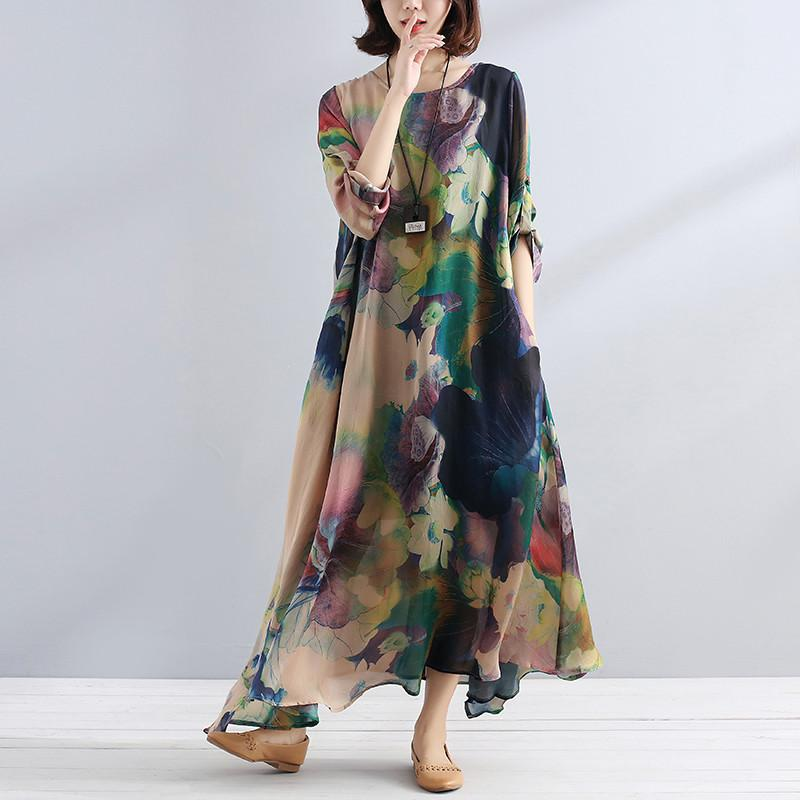fa77fc59ffe Charming Women Casual Loose Floral Long Sleeve Dress