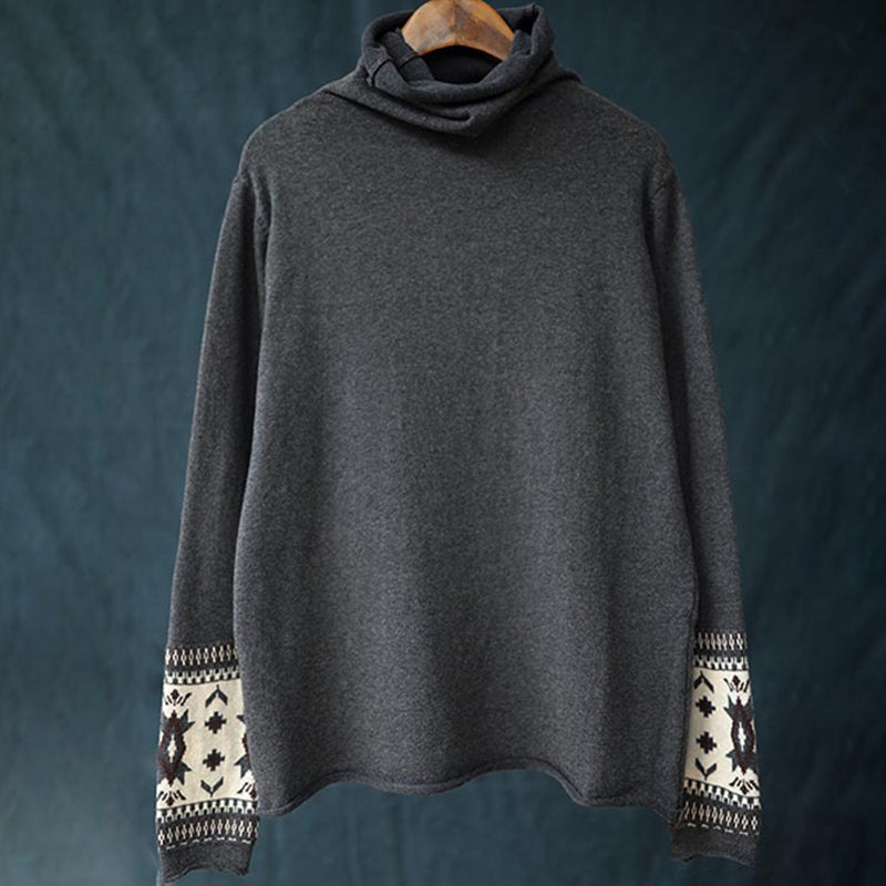 Buykud Jacquard On Cuffs Casual Comfort Turtleneck Sweater