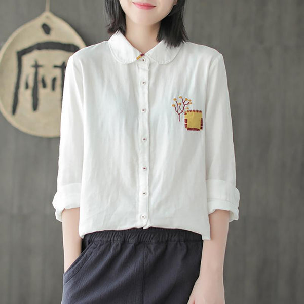 Cotton Embroidery Loose Solid Long Sleeve Shirt