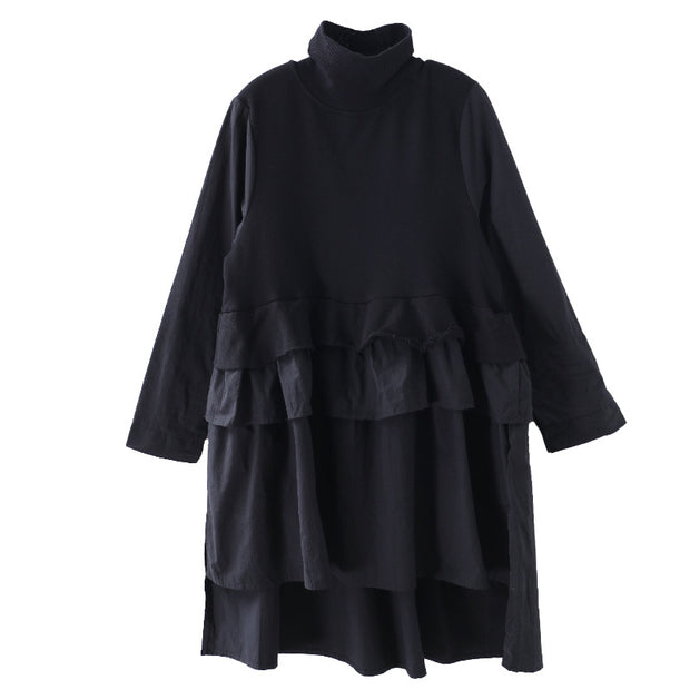 Buykud Turtleneck Pure Color Casual Loose Ruffle Dress