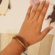 Cowhide And Hemp Rope Twisted Bracelet
