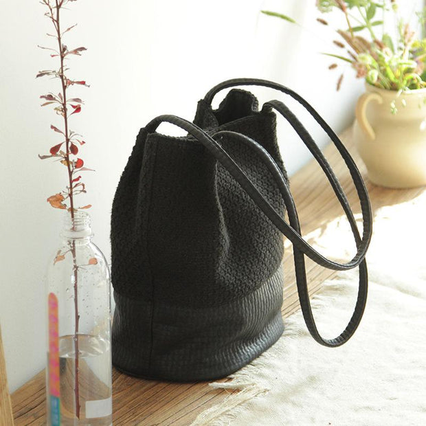 Casual Canvas Thread Solid Shoulder Bag