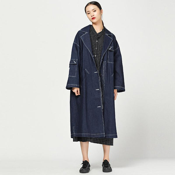 Fashion Autumn Vintage Solid Long Sleeve Denim Coat