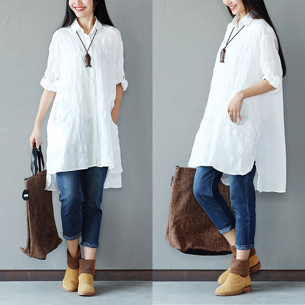 Spring Women Cotton Linen Loose White Shirt - Buykud