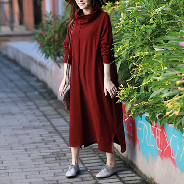 Cotton Turtleneck Slit Loose Batwing Sleeve Solid Dress