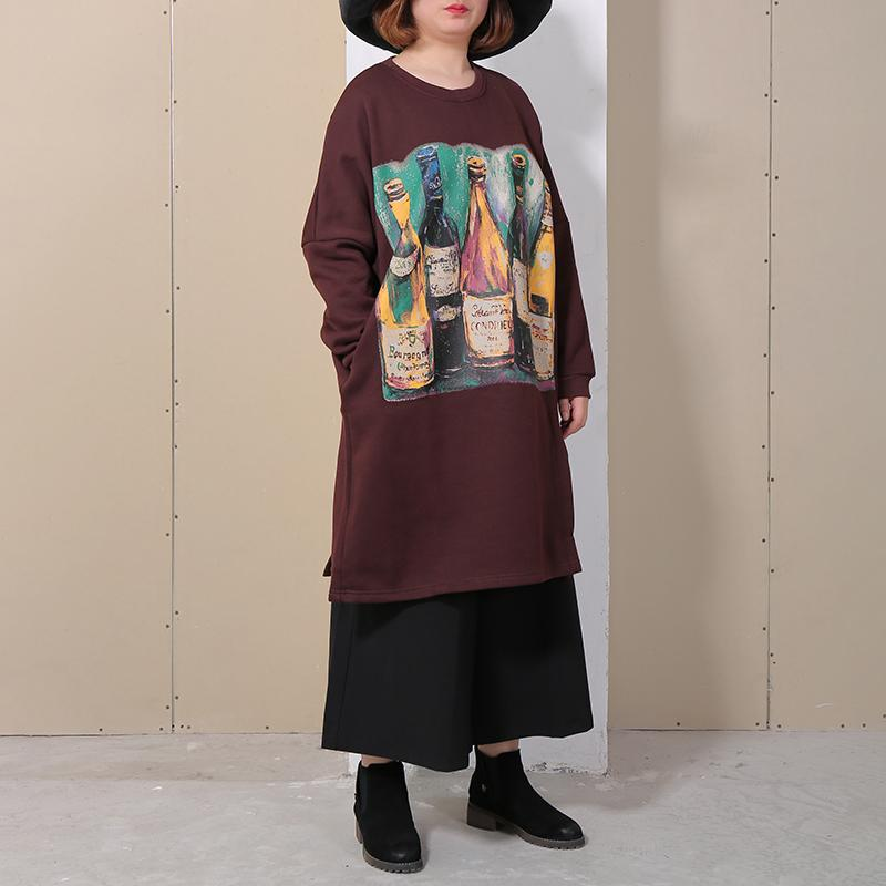 Casual Cotton Long Sleeve Printed Women Dress