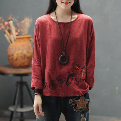 Embroidered Long Sleeve Loose Women T-shirt