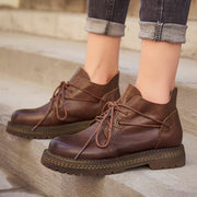 Women Leather Lacing New Booties 1