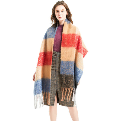 Polyester Women Tassel Plaid Winter Scarf