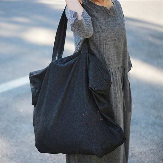 Denim Casual Women Black Shoulder Bag