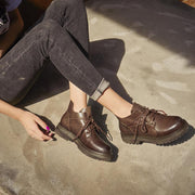 Women Leather Lacing New Booties 2