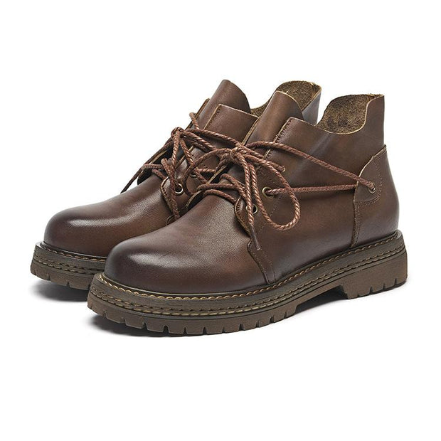 Women Leather Lacing New Booties 6