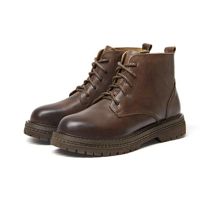 Vintage Leather Handmade Martin Boots For Women
