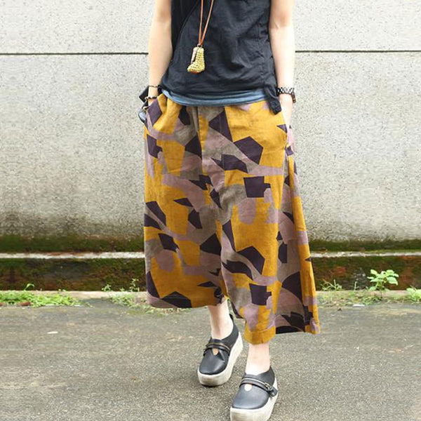 Loose Women Retro Linen Yellow Harem Pants - Buykud