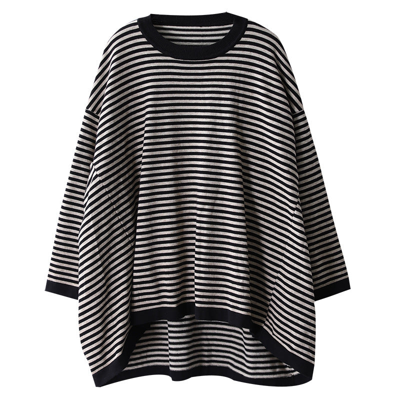 Buykud Ultra-loose Classic Striped Round Neck Blouse
