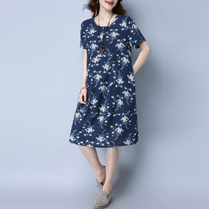 Floral Casual Women Cotton Loose Navy Blue Dress - Buykud