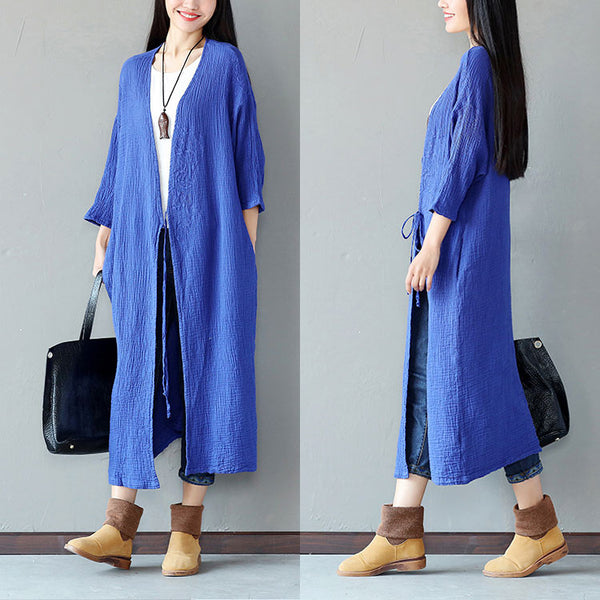 Embroidered Loose Women Casual Cotton Folded Blue Coat - Buykud