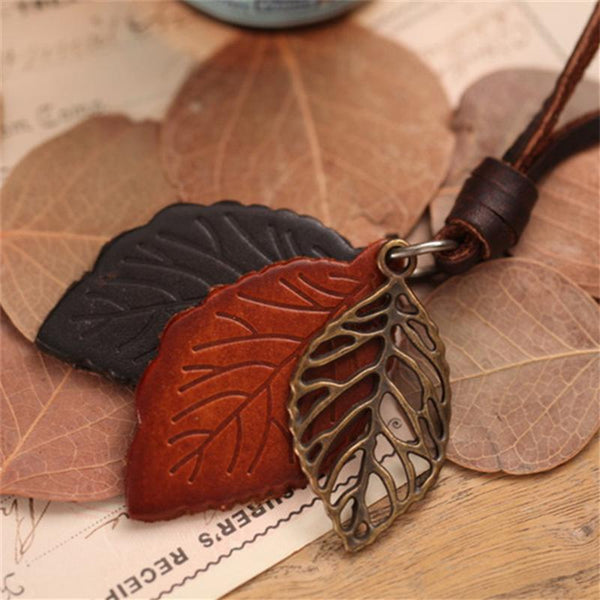 Ethnic Alloy Leaf Long Rope Necklace