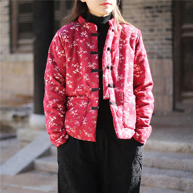Chinese Style Flower Print Retro Winter Coat