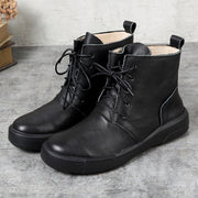 Cowhide Flat Heel Lacing Women Casual Boots