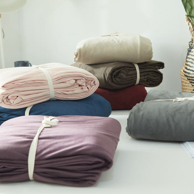 Four Pieces Set Duvet Cover Flat Sheet Fitted Sheet Pillowcase