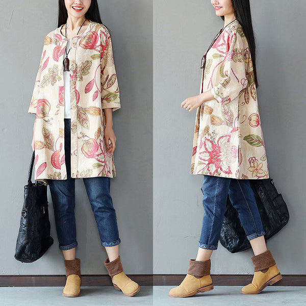 Spring Retro Printing Button Pocket Linen Long Red Coat