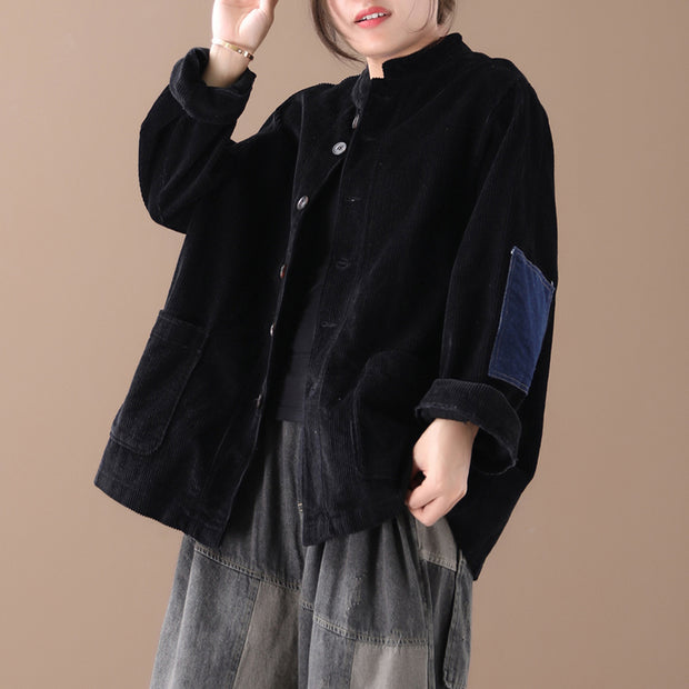 Buykud Patchwork Corduroy Single Breasted Autumn Coat
