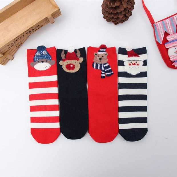 Christmas Cartoon Pattern Half Stockings - 4 Pairs