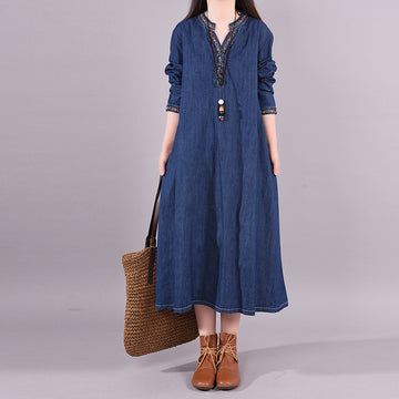 Buykud Solid Color Denim Loose Embroidery V-neck Dress