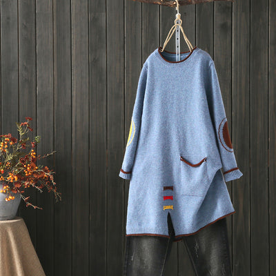 Vintage Retro Women Pullover Split Sweater