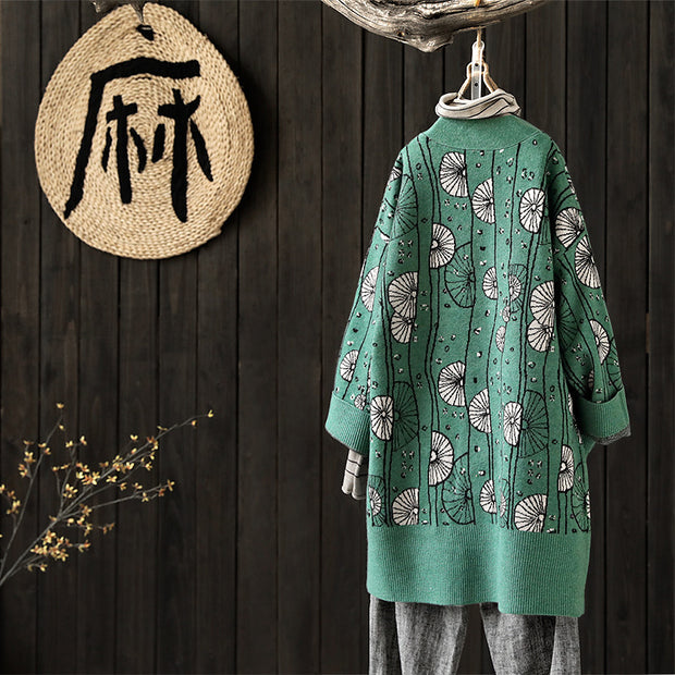 Women Printing Cardigan Cotton Polyester Sweater Coat