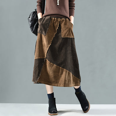 Spliced Patchwork Elastic Waist Calf Length Skirt