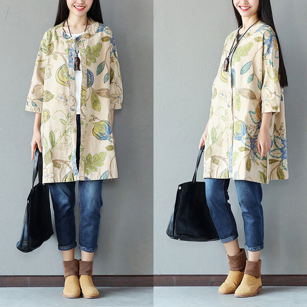 Spring Retro Printing Button Pocket Linen Long Green Coat