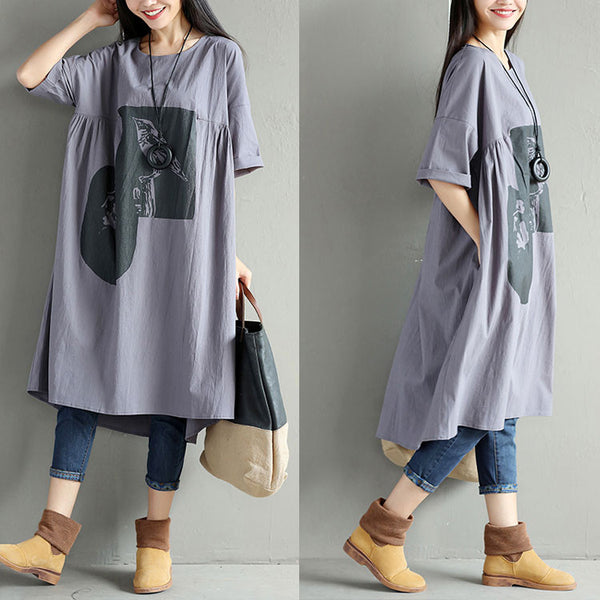 Printing Cotton Women Casual Linen Loose Folded Gray Dress
