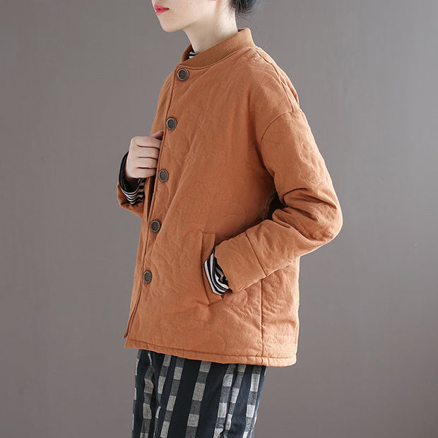 Women Cardigan Stand Collar Vintage Solid Winter Coat