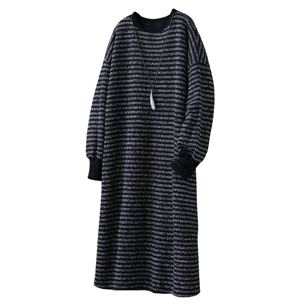 Winter Stripe Spliced Loose Midi Long Sleeve Dress