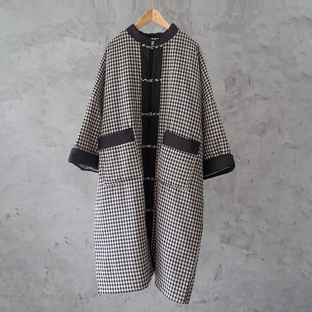 Vintage Retro Stand Collar Women Cotton Linen Coat