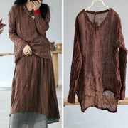 Buykud Round Collar Solid Color Pleated Loose Blouse