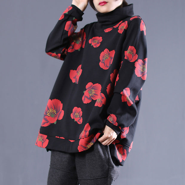 Flower Print Turtleneck Split Winter Women Sweatshirt