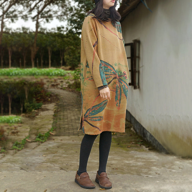Printing Split Long Sleeve Midi Cotton Dress