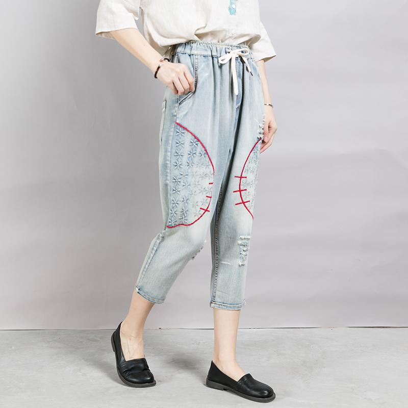 Casual Frayed Embroidery Drawstring Loose Jeans