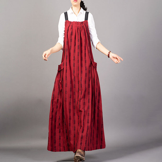 Buykud Casual Striped Plaid Lacing Loose Red Suspender Dress