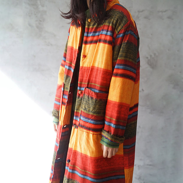 Vintage Chinese Style Retro Winter Stripe Women Cotton Coat